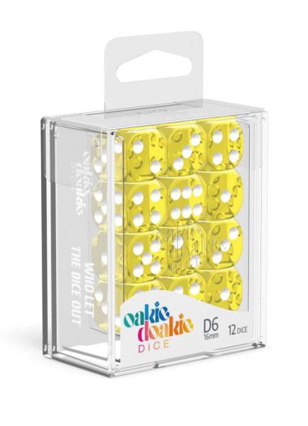 Oakie Doakie Dice D6 Dice 16 mm Translucent - Yellow (12)