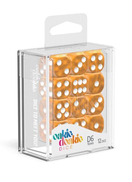 Oakie Doakie Dice D6 Dice 16 mm Marble - Orange (12)