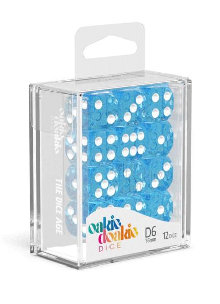Oakie Doakie Dice D6 Dice 16 mm Speckled - Light Blue (12)
