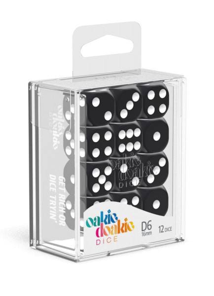 Oakie Doakie Dice D6 Dice 16 mm Solid - Black (12)