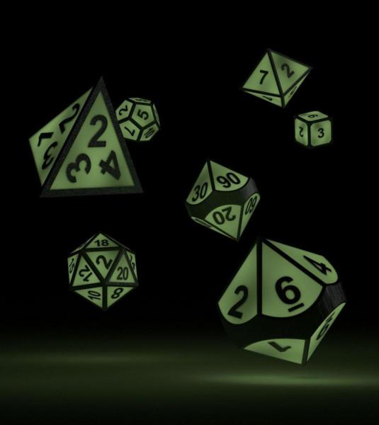 Oakie Doakie Dice RPG Set Metal Glow in the Dark - Druid's Blaze (7)