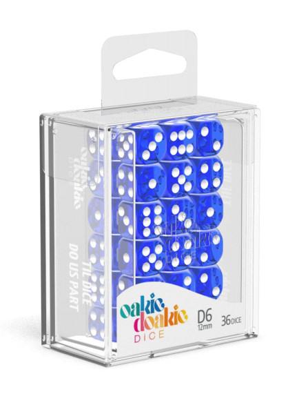 Oakie Doakie Dice D6 Dice 12 mm Translucent - Blue (36)