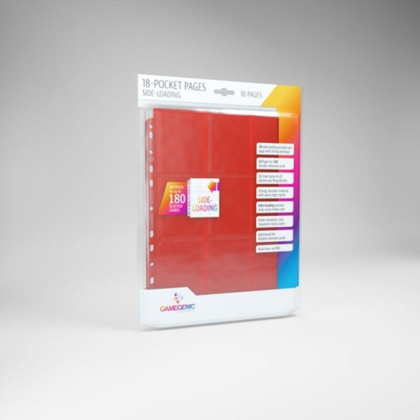 Gamegenic - Sideloading 18-Pocket Pages 10 pcs pack Red