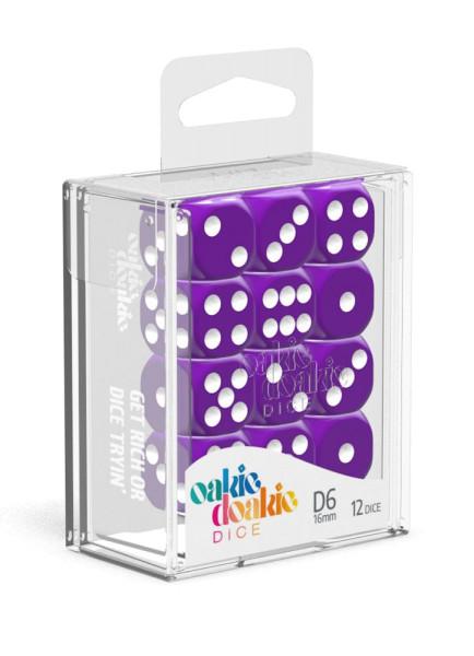Oakie Doakie Dice D6 Dice 16 mm Solid - Purple (12)