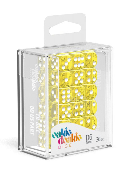 Oakie Doakie Dice D6 Dice 12 mm Translucent - Yellow (36)