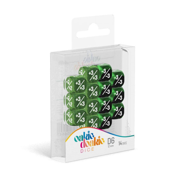 Oakie Doakie Dice D6 Dice 12 mm Marble/Gemidice Positive & Negative - Green (14)