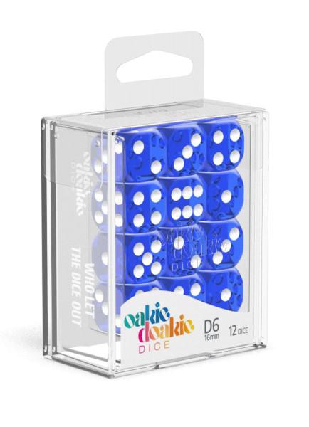 Oakie Doakie Dice D6 Dice 16 mm Translucent - Blue (12)