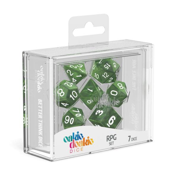 Oakie Doakie Dice RPG Set Marble - Green (7)