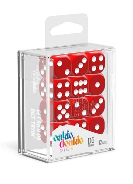 Oakie Doakie Dice D6 Dice 16 mm Solid - Red (12)