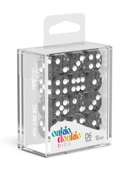 Oakie Doakie Dice D6 Dice 16 mm Speckled - Black (12)