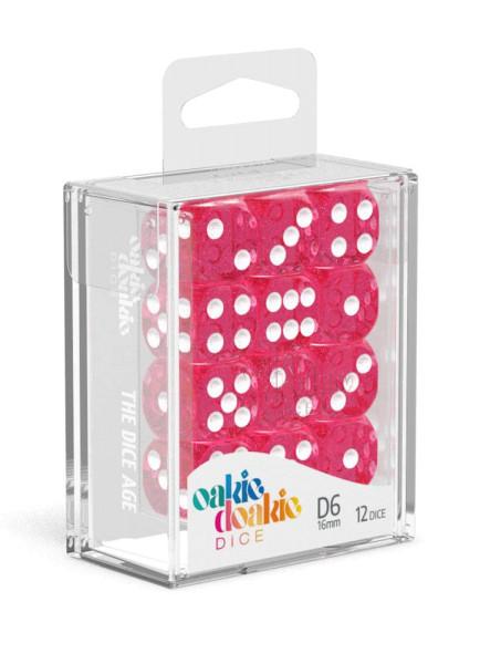 Oakie Doakie Dice D6 Dice 16 mm Speckled - Pink (12)