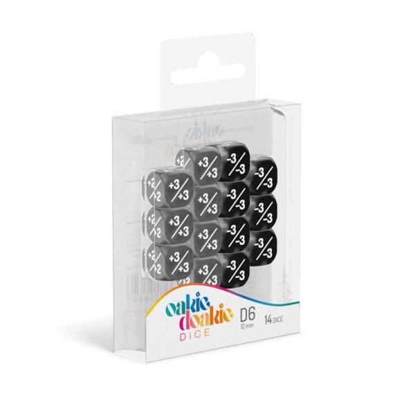 Oakie Doakie Dice D6 Dice 12 mm Marble/Gemidice Positive & Negative - Black (14)