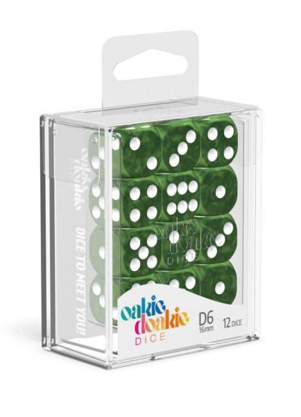 Oakie Doakie Dice D6 Dice 16 mm Marble - Green (12)