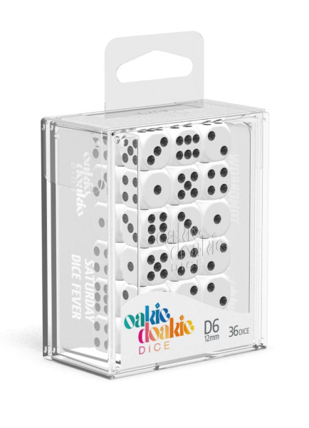 Oakie Doakie Dice D6 Dice 12 mm Solid - White (36)