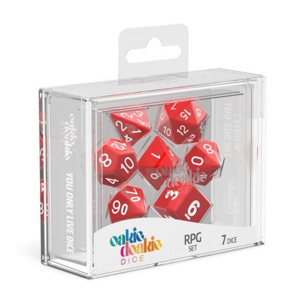 Oakie Doakie Dice RPG Set Solid - Red (7)