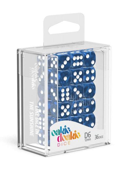 Oakie Doakie Dice D6 Dice 12 mm Marble - Blue (36)