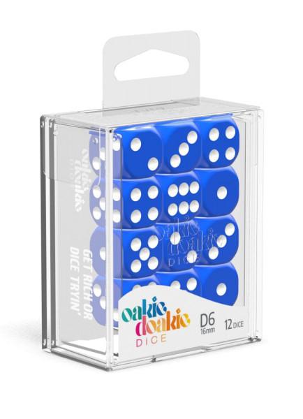 Oakie Doakie Dice D6 Dice 16 mm Solid - Blue (12)