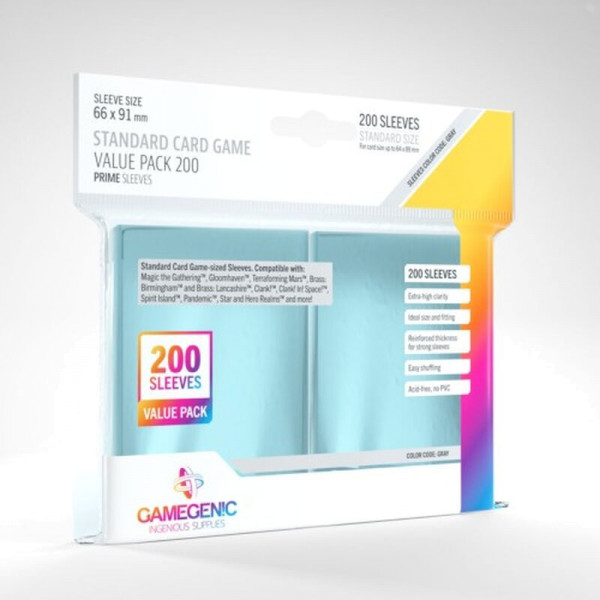 Gamegenic - Value Pack Standard Sleeves - Clear (200 Sleeves)