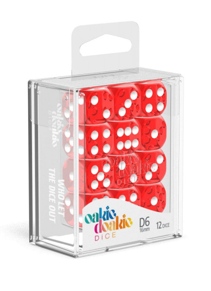 Oakie Doakie Dice D6 Dice 16 mm Translucent - Red (12)