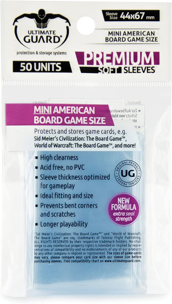 Premium Sleeves for Board Game Cards Mini American (50)