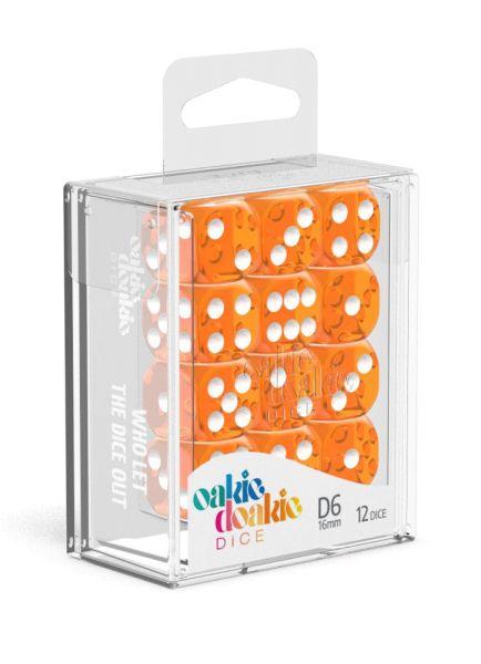Oakie Doakie Dice D6 Dice 16 mm Translucent - Orange (12)