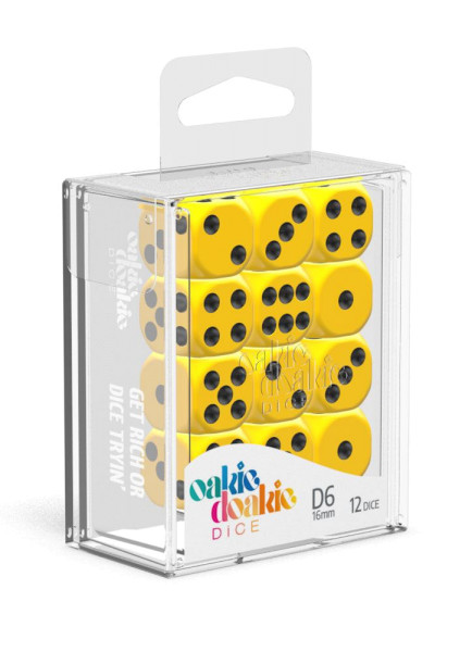 Oakie Doakie Dice D6 Dice 16 mm Solid - Yellow (12)