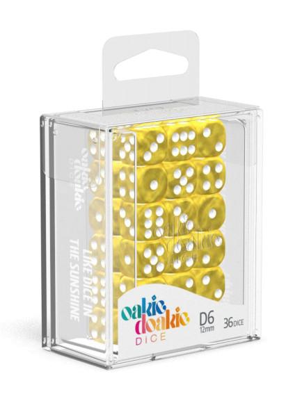 Oakie Doakie Dice D6 Dice 12 mm Marble - Yellow (36)